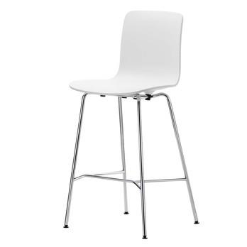 Vitra - Hal Stool Medium Barhocker  - weiß/Gestell chrom/Gleiter basic dark schwarz/Sitzhöhe 64,5 cm
