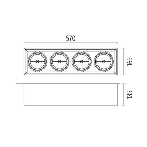 Flos - Compass Box 4 Deckenleuchte - Strichzeichnung