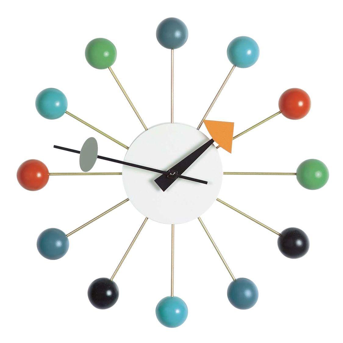 Ball clock nelson horloge murale vitra for Horloge eames
