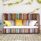 ADWOOD - Breeze Schlafsofa  - multicolor/Sitzkissen natur/Liegefläche 205 x 155cm/7 Kissen und 2 Rollen in multicolor/Kissen 2 gelb/3 nature/2multicolor