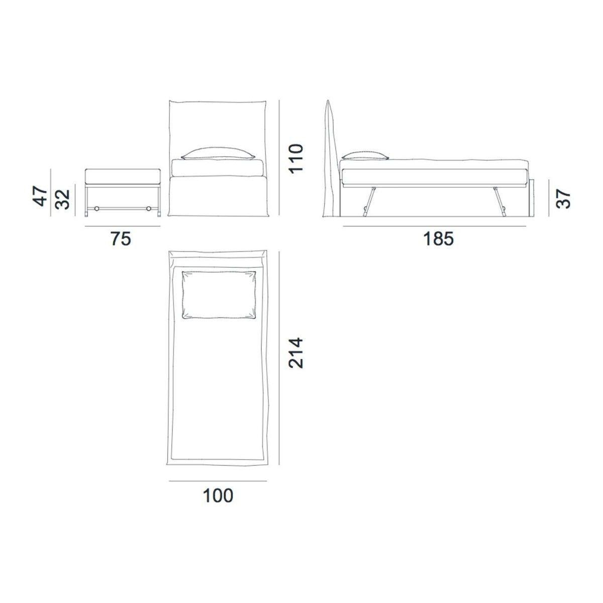 Bett strichzeichnung  Ghost 82.S Bett mit ausziehbarem Zweitbett | Gervasoni ...