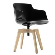 MDF Italia - Flow Slim Armchair With Oaken Legs
