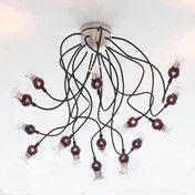 Serien - Poppy Ceiling Deckenleuchte - Schirm schwarz/Arme schwarz/Glas/Größe 2/150cm Armlänge