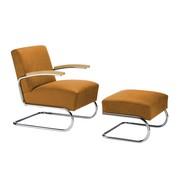 Thonet - S 411 Sessel mit Hocker Leder