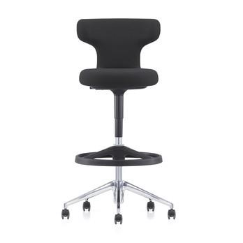 Vitra - Pivot Citterio Bürostuhl hoch - schwarz/Stoff SingleKnit 05/Gestell aluminium poliert/weiche Rollen/H: 99.5 bis 118.5cm