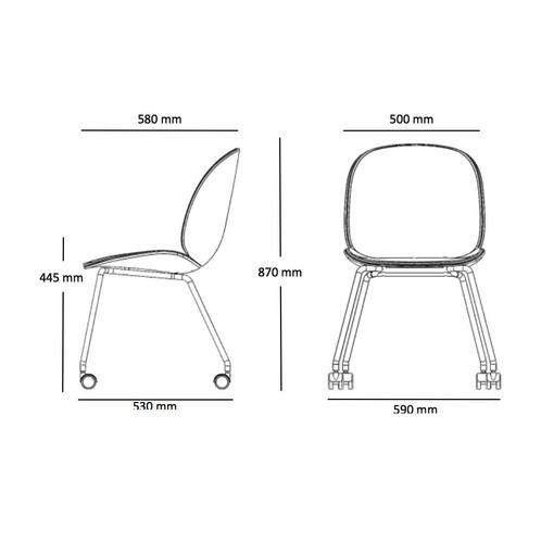 Gubi - Beetle Dining Chair Stuhl mit Rollen - Strichzeichnung