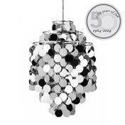 VerPan - Fun 1DA Suspension Lamp - metallic/metal/3 rings/black fabric cord