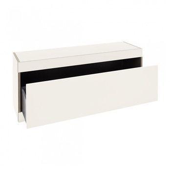 - Flai Stauraumbank mit Schublade - weiß/ohne Sitzpolster/1.8cm CPL-Beschichtung/1 Schuhfach/BxHxT 118x48x35cm