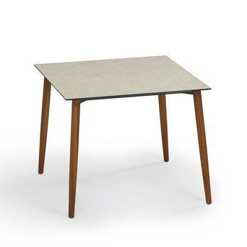 Weishäupl - Slope Gartentisch 90 x 90cm - HPL beige/Gestell teak/L x B: 90 x 90cm