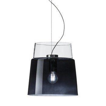 Prandina - Vestale S3 Pendelleuchte - rauchgrau/kristall/mundgeblasen/H 32cm, Ø 30cm/Struktur: Stahl verchromt