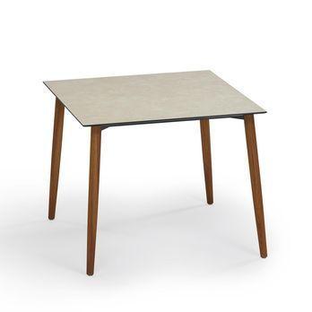 - Slope Gartentisch - HPL beige/Gestell teak/L x B: 90 x 90cm