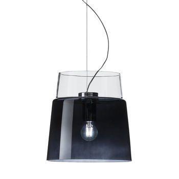 Prandina - Vestale S3 Pendelleuchte - rauchgrau/kristall/mundgeblasen/Struktur: Stahl verchromt/H 32cm/Ø30cm