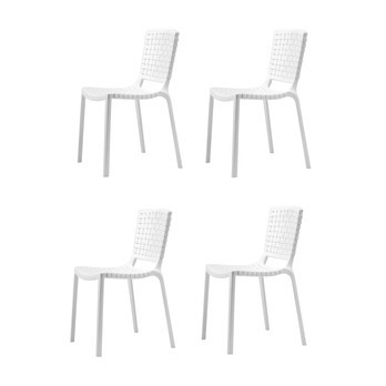 Pedrali - Tatami Garden Chair 4-Piece Set - white/UV-resistant/100% recyclable