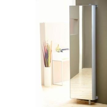 Jan Kurtz - 180° Multi Tube L Regal mit Spiegel drehbar - luna-silber/matt/51x190x20cm/5 Böden/4 Böden verstellbar/Wandmontage