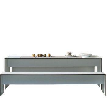 Conmoto - Riva Set 180 1 Tisch + 1 Bank - weiß/Laminat/1x Bank 176x35x44cm/1x Tisch 180x70x72cm