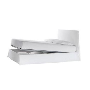 Gervasoni - Ghost 80 F Bett mit Husse 215x148cm - weiß/Stoff Lino Bianco/ohne Matratze und Lattenrost