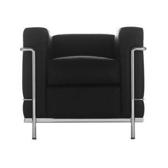 Cassina - Le Corbusier LC2 Sessel - grafite schwarz/Leder LCX 13X414/Gestell chrom