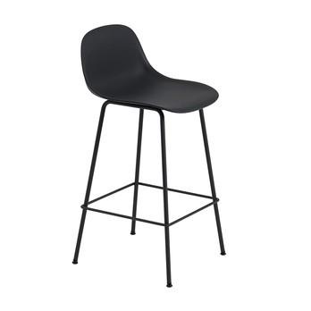 Muuto - Fiber Barhocker mit Rückenlehne 65cm - schwarz/Sitzfläche Kunststoff/BxHxT 42,5x87,5x44,5cm/Gestell Stahl schwarz: pulverbeschichtet
