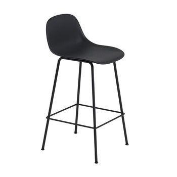 - Fiber Barhocker mit Rückenlehne 65cm - schwarz/Sitzfläche Kunststoff/BxHxT 42,5x87,5x44,5cm/Gestell Stahl schwarz: pulverbeschichtet