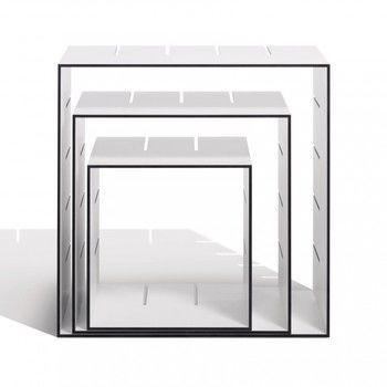 müller möbelwerkstätten - Konnex Regal Set 1 - weiß/Kanten schwarz/1 kleine + 1 mittlere + 1 große Box/31.2 x 31.2cm / 41.4 x 41.4cm / 51.6 x 51.6cm