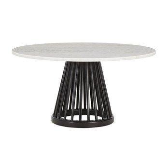 Tom Dixon - Fan Couchtisch Ø90cm - weiß/Gestell schwarz/H 45cm