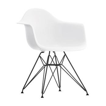 Vitra - Eames Plastic Chair DAR Gestell schwarz H43cm - weiß/Eiffelturmgestell basic dark schwarz/für Innen- und Außenbereich geeignet