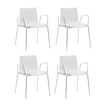 Arper - Catifa 46 Armlehnstuhl einfarbig 4er Set - weiß/Außenschale glänzend/innen matt/Gestell verchromt/56.5x80x53.5cm