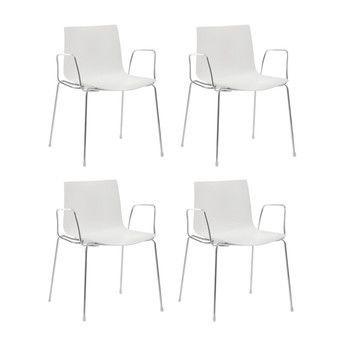 - Catifa 46 Armlehnstuhl einfarbig 4er Set - weiß/Außenschale glänzend/innen matt/Gestell verchromt/56.5x80x53.5cm