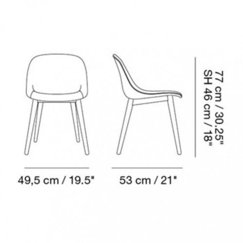 Muuto - Fiber Chair Stuhl gepolstert mit Holzgestell - Strichzeichnung
