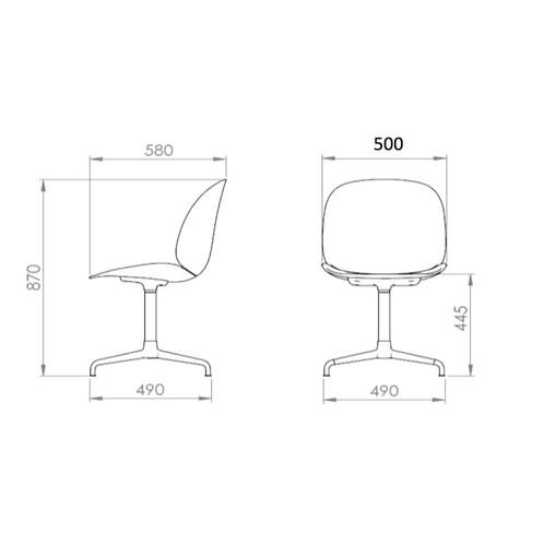 Gubi - Beetle Dining Chair Drehstuhl Kreuzgestell - Strichzeichnung