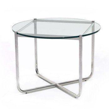 Knoll International - MR Table Couchtisch/Beistelltisch - transparent/Kristallglas/Gestell verchromt/Ø72.5cm/H 52cm