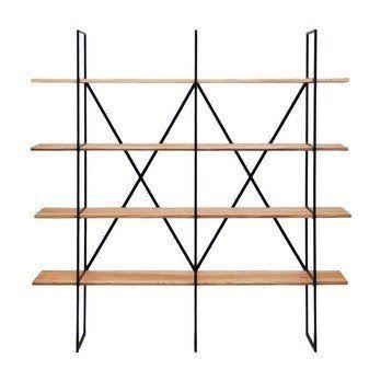 Zeus - Slim Irony Bücherregal 190x190cm - massives Pappelholz/Gestell kupfers/Höhe der Regalfächer 38cm/Wandfixierung/zerlegbar/jedes Teil ein Unikat