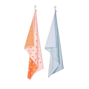 HAY - S&B Dot Geschirrtücher-Set - hellblau/orange gepunktet/Stoff/75x52cm
