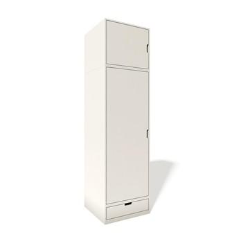 müller möbelwerkstätten - Modular Stapelbar Schrank 2 - weiß/Korpus weiß/60 x 222.1 x 60 cm/1 Konstruktionsboden/1 Kleiderstange/1 Schubkastenelement/1 Aufsatzschränkchen