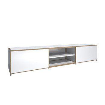 Flötotto - ADD H2 Lowboard - weiß/Melamin/ Eiche gekalkt/243,7x43,7x50,6cm/2 Großraumschubladen, 1 Einlegeboden