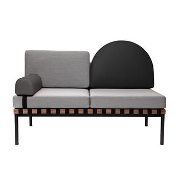 Petite Friture - Grid 2-Sitzer Sofa 140x86x72cm - grau/schwarz/Stoff Steelcut Trio 2 133 & Leder/Gestell Nussbaum schwarz