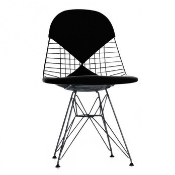 Vitra - Eames Wire Chair DKR-2 Stuhl H43cm - schwarz/basic dark schwarz/Stoff Hopsak 66/mit Filzgleitern in basic dark schwarz/neue Höhe/für Innen- und Außenbereich