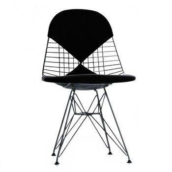 - Eames Wire Chair DKR-2 Stuhl H43cm - schwarz/basic dark schwarz/Stoff Hopsak 66/mit Filzgleitern in basic dark schwarz/neue Höhe/für Innen- und Außenbereich