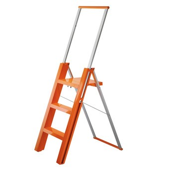 Magis - Flò Ladder - orange/aluminium/3 stages, folding/H: 93-140cm