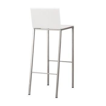 Zeus - Bianco Barhocker matt 80cm - opalin weiß/matt/Gestell Edelstahl