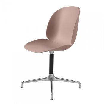 Gubi - Beetle Dining Chair Drehstuhl mit Kreuzgestell - süßes pink/Sitz Polypropylen-Kunststoff/BxHxT 50x87x58cm/Gestell schwarz/poliertes Aluminium