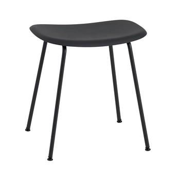 Muuto - Fiber Hocker 45cm - schwarz/Sitzfläche Kunststoff/BxHxT 45x46x35,5cm/Gestell Stahl schwarz: pulverbeschichtet