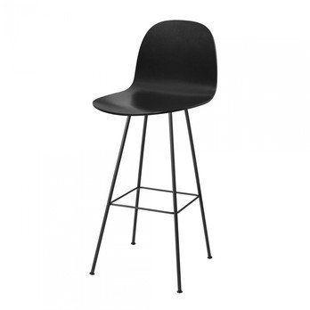 Gubi - Gubi 2D Bar Chair Barhocker  - schwarz/Sitzfläche Birke/BxHxT 55x120x53cm/Gestell schwarz