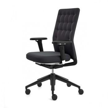 Vitra - ID Trim Citterio Bürostuhl mit 2D-Armlehnen - nero schwarz/Gestell basic dark/Stoff Plano 66/ohne Vorwärtsneigung + Sitztiefenverstellung/mit weich gebremsten Rollen