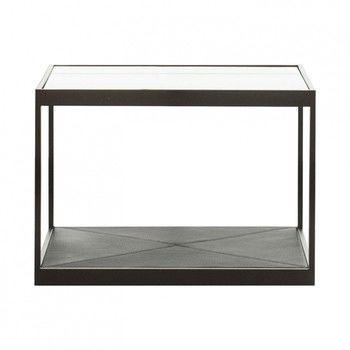 - Monaco Beistelltisch 50x50 - schwarz/Glastop/L x B x H: 50 x 50 x 35cm