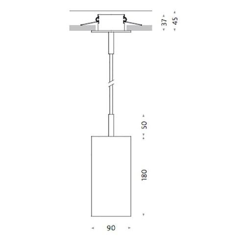 Mawa Design - Seventies LED Einbau Pendelleuchte - Strichzeichnung