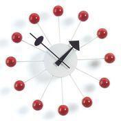 Vitra - Ball Clock Nelson Wanduhr - rot/Zeiger schwarz/Holz/Ø33cm
