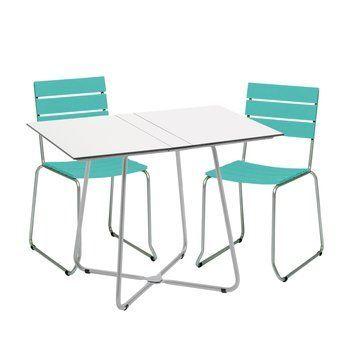 Weishäupl - Balcony Gartenset  - Einzelstück - türkis/Gestell edelstahl/Tisch weiß/2 Stühle 1 Klapptisch