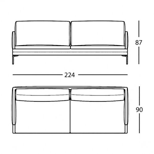 Zanotta - William 2-Sitzer Sofa mit Kissen - Strichzeichnung