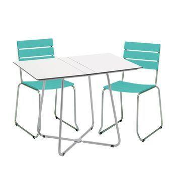Weishäupl - Balcony Gartenset  - türkis/Gestell edelstahl/Tisch weiß/2 Stühle 1 Klapptisch